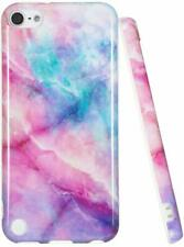 iPod Touch 5th 6th & 7th Gen - Blue Pink Marble Stone Hard TPU Gummy Rubber Case