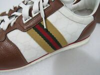 $385 GUCCI Men's Brown White Leather GG Web Logo Sneakers Size: Gucci 9 / US 10