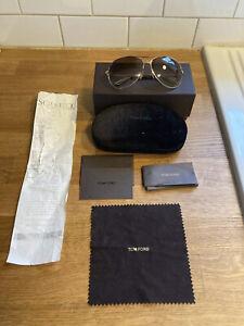Tom Ford Sunglasses Charles Men Women Gradient Tan Gold sun glasses Aviator