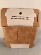 Starbucks Reusable Cup Sleeve ~ 60% Recycled Leather Mosaic Pattern ~ Light Brn.