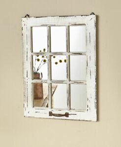 Distressed Wood Windowpane Mirror Country Farmhouse Decor White Natural Black