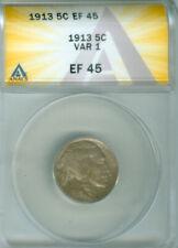 1913 TY 1 BUFFALO NICKEL TONED  ANACS EF 45 FREE S/H (2025760)