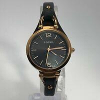 Fossil  Womens ES3077 Gold Quartz Analog Wristwatch Brown Leather Band