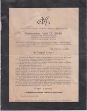 1924 Faire-part décès Commandant Louis DU BOYS - Limoges - Paris