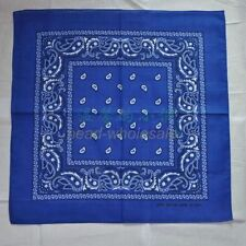 100 Cotton Paisley Bandanas Double Sided Printed Head Wrap Scarf Wristband #16 Sapphire Blue