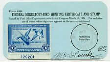 1934 Rw1 Stamp Federal Hunting License Migratory Bird Form 3333 Beverly Hills Ca