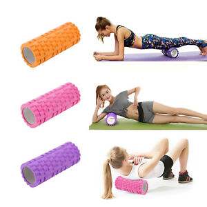 THE NEW YOGA PILATES AND SPORTS EXERCISE HOLLOW FOAM ROLLER TEXTURED GRID HIGH