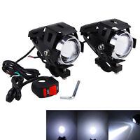 2x Black U5 Motorcycle LED Headlight Driving Fog Spot Light Lamp & Switch