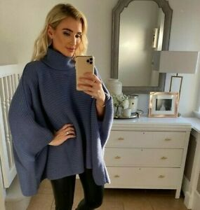 New In The Style X Billie Faiers Oversized Cape Jumper Cardigan Navy - Sz 8