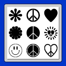 9 in 1 Peace/Hippy 60's Symbols STENCIL Flowers/Peace Signs/Hearts/Smiley Face
