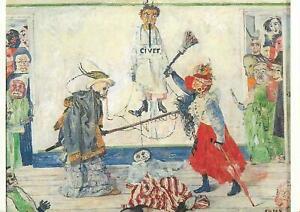 Belgium Antwerp art museum postcard James Ensor Mask fighting over a hanged man