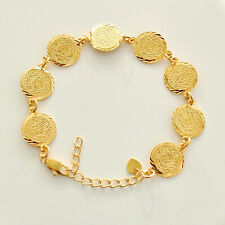 """Women Coin Bracelet 24k Gold Plated Middle East Arabic 15mm Coin - Size 8 - 9"""""""