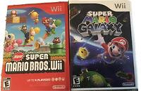 Super Mario Galaxy & New Super Mario Bros Wii ..Nintendo Wii Lot Game Bundle
