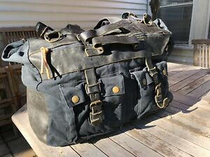 Belstaff, large colonial bag, black, cotton and leather