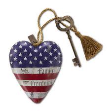 FAITH FAMILY FREEDOM Art Heart Sculpture Ornament Key to My Heart USA Americana