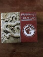 .999 Pure Silver Perth Mint 2012 1/2 oz Lunar Dragon Colour Proof With Box COA
