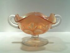 Vintage Carnival Glass Compote with Clear Glass Handles, Stem & Foot.
