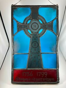 Vintage Stained Glass Window Panel - Patrick Henry