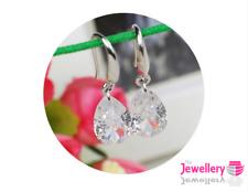 925 Sterling Silver Drop 9mm Peardrop Crystal Earrings Jewellery Womens Ladies