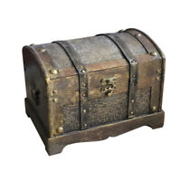 Retro Wooden Pirate Treasure Chest Box Gem Jewelry Trinket Keepsake Storage Case