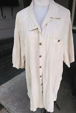 MEN 3XT CARIBBEAN 70% Silk Hawaiian Shirt Camp Casual Button Short Sleeve Ivory