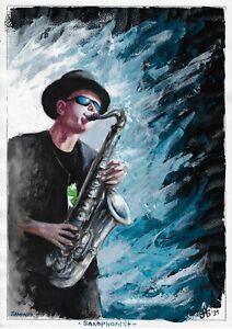 original painting A3 25BOK art samovar Watercolor musician Saxophonist Signed