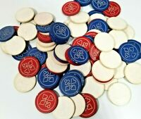 85+ Vintage Blue & Red Clay Poker Chips