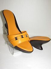 SALVATORE FERRAGAMO Mustard Slip-On Wedges Sandals SZ 8.5 B NEW