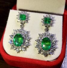 VIVID 7.08TCW NATURAL EMERALD & Diamonds 18K Solid White Gold Earrings Dangle