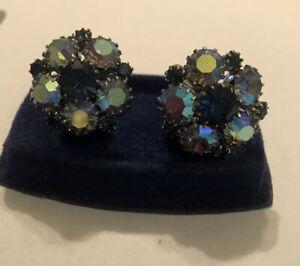 Vintage Men's Jewelry Silver Tone Rhinestone Blue Cluster Cufflinks Pair
