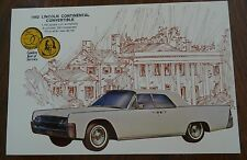 1962 Lincoln Continental Convertible Sales Flyer Postcar Dealer Giveaway
