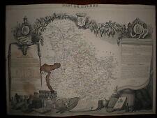CARTE GEOGRAPHIQUE PUBLIE PAR COMBETTE 1845 / DEPARTEMENT DE L'YONNE