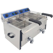 20L Electric Deep Fryer Fat Chip Commercial Twin Tank Stainless Steel w/ Timer