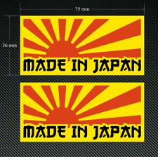 Hecho En Japón Sol Naciente calcomanías/Pegatinas Amarillo 2 X 75 Mm-Impreso & Laminado