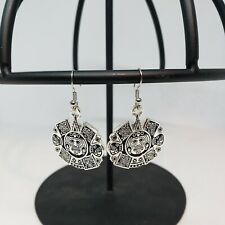 Silver Aztec earrings  diameter Chicana Mexicana Lowrider Chola  Culture