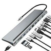 12in1 Multifunction 4K USB-C HUB Type-C to USB Docking Station For Laptops Hubs