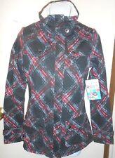 Roxy Junior Rhubarb Crumble Sherpa Trim Jacket Black Plaid XS NWT