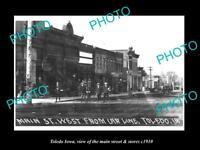 OLD LARGE HISTORIC PHOTO OF TOLEDO IOWA, THE MAIN STREET & STORES c1910