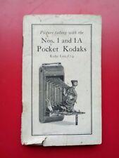 1926 VTG KODAK NUMBER 1 AND 1A POCKET CAMERA OPERATERS MANUAL◾VTG PHOTOGRAPHY