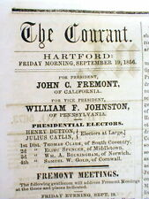 1856 newspaper w AD - 1st REPUBLICAN CANDIDATE for PRESIDENT - John C FREMONT