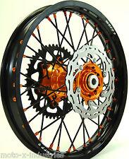 "ORANGE HUB & NIPPLE MX WHEEL SET KTM BLACK 18"" 21"" RIMS BRAKE ROTORS SPROCKET BO"