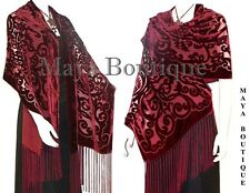 Maya Matazaro Shawl Wrap Scarf Burnout Velvet Art Nouveau Deep Red Fringed