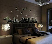 City outline Glow Night Home Room Decor Removable Wall Stickers Decal Decoration