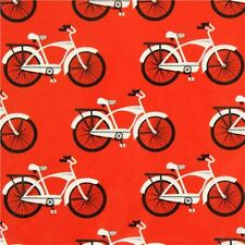 Kaufman Gnome Living by Illustrations Ink 14149 3 Red Bikes BTY Cotton Fabric