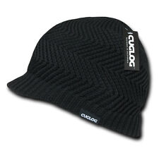Black SHORT VISOR BEANIE JEEP HAT Knit Jeep Cap Warm Winter skull ski snowboard