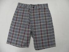 Billabong Walkshort Shorts Size 32 Grey Plaid with red
