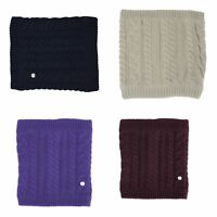 HyFASHION Meribel Cable Knit Snood Neck Tube Navy/Oatmeal/UltraViolet/Burgundy