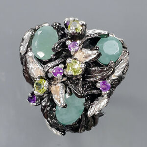 gemstone jewelry Natural Emerald Ring Silver 925 Sterling  Size 6.75 /R171073