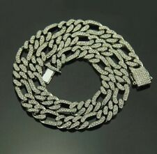 """Mens Silver Chain Belcher Cuban Chain Choker 20"""" Iced Out Trapstar Hiphop Bling"""