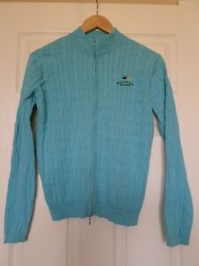 Peter Millar womens size M Bandon Dunes cable knit zip front cardigan sweater